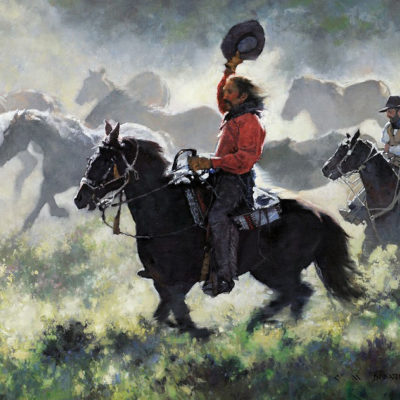 Mustang Roundup, artist C.M. Dudash, limited edition giclee print