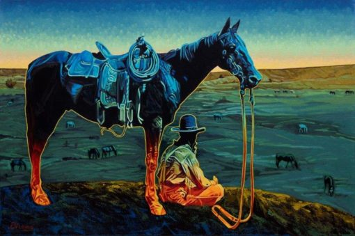 24x36 limited edition giclee print, Don't Fence Me In by artist Michael Blessing