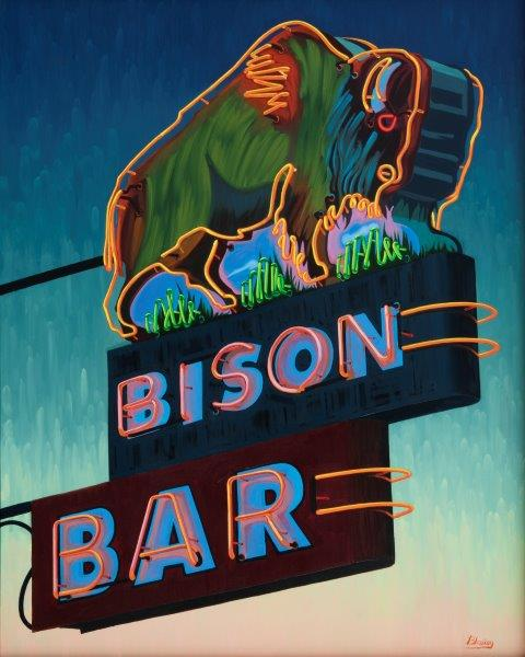 30x24 limited edition giclee print, Where The Buffalo Roam by artist MIchael Blessing