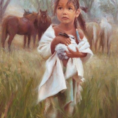 16x12 giclee print, Can I Keep Him by artist Deborah Berniklau