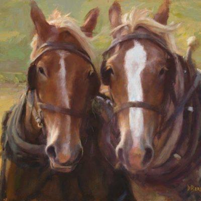 14x18 giclee print, Draft Horse Buddies by artist Deborah Berniklau