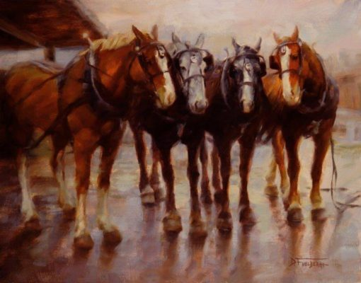 9x12 giclee print, Four Handsome Boys by artist Deborah Berniklau